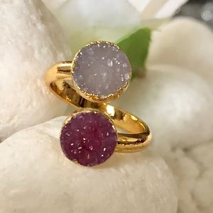 Jewelry - 💕✨BURGUNDY AND SILVER DRUZY RING🎉